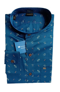 Men's Chinese Collar Cotton Printed Shirt - DCF  6075 B