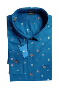Men's Cutaway Collar Cotton Printed Shirt - DCF 6076 B