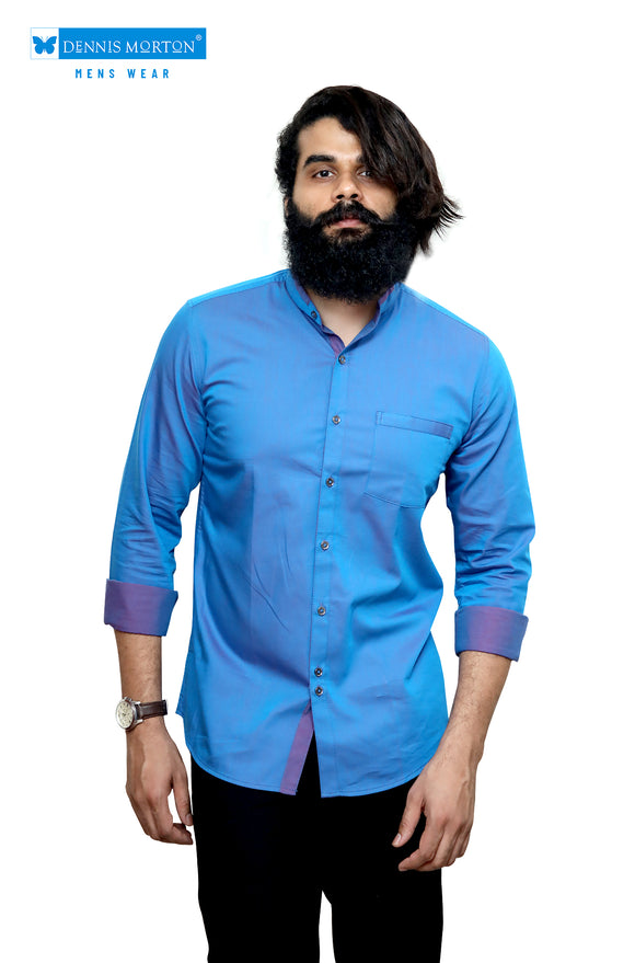 Blue Mandarin Collar Semi Casual Shirt