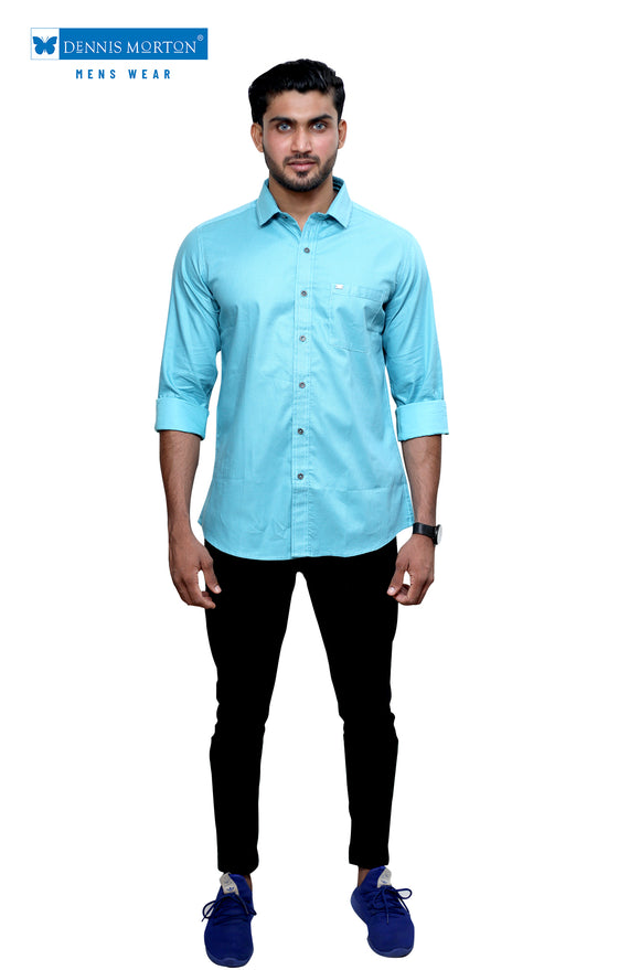Dennis Morton Blue Printed Casual shirt