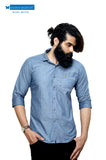 Blue cotton Chambray with self-design casual shirt