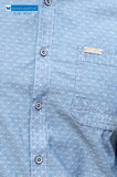 Blue cotton Chambray shirt with self-design casual shirt