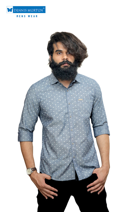 Blue Floral Printed Indigo Casual Shirt