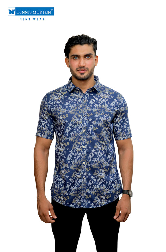 Blue Floral Printed Casual Shirt
