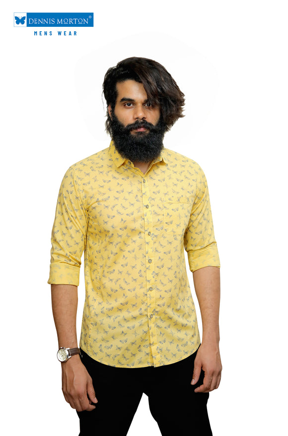 Yellow Printed Casual Shirt