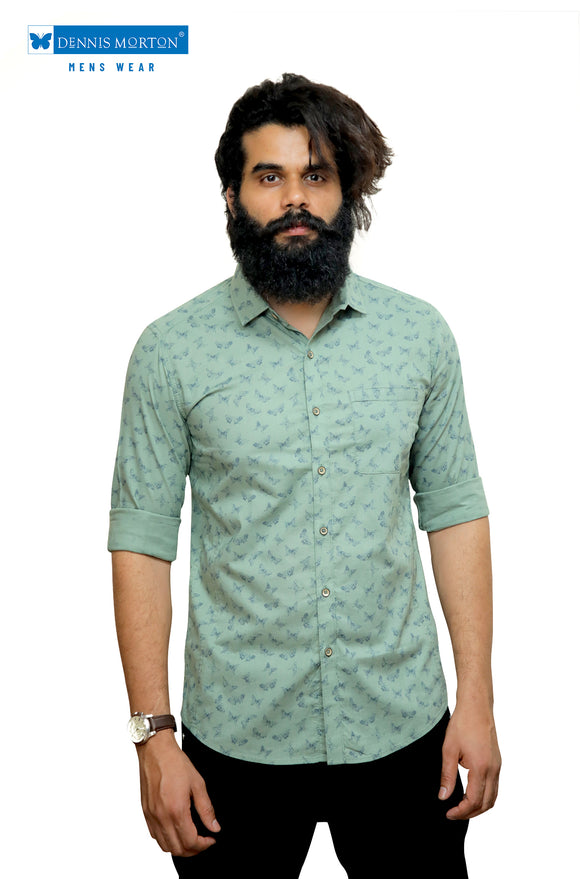 Olive Green printed casual shirt