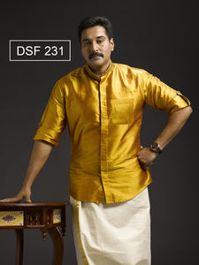 Light Golden Color Mandarin Collar Silk Shirt DSF 231
