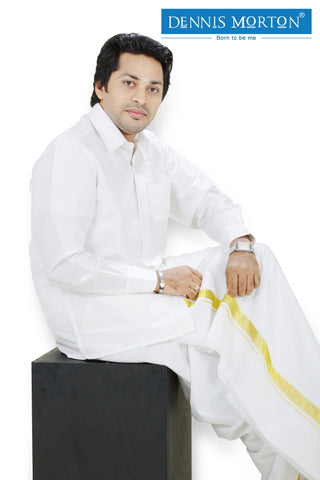 Men's White Parinaya Silk Shirt  - DSS 01