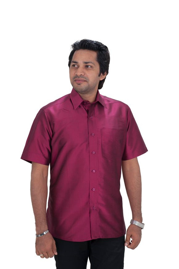 Men's Dark Magenta Silk Shirt Dennis Morton - DSS 292