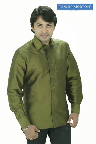 Men's Olive Green Colour Silk Shirt Dennis Morton -  DSS 357