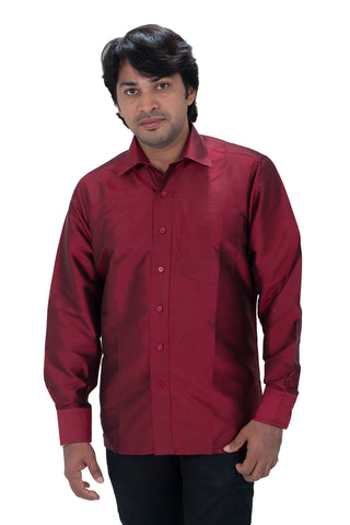 Men's Dark Maroon Silk Shirt Dennis Morton - DSS 406