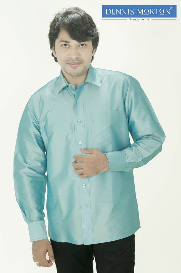 Men's PaleTurquoise Shade Silk Shirt Dennis Morton - DSS 820