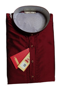 Men's Dark Maroon Party Plain Dupioni Silk Kurta LKS 01 406
