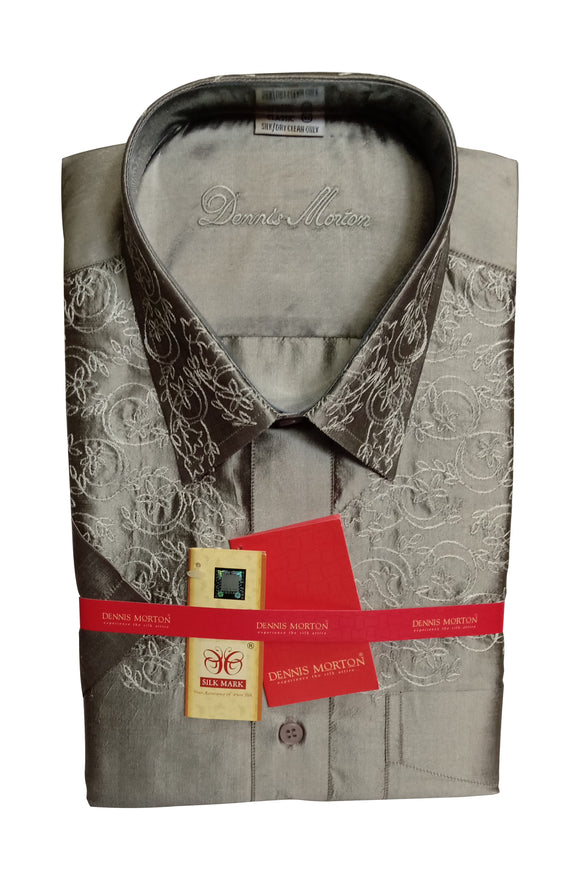 Men's Embroidery Pure Silk Shirt Dennis Morton - EMB DSS 165