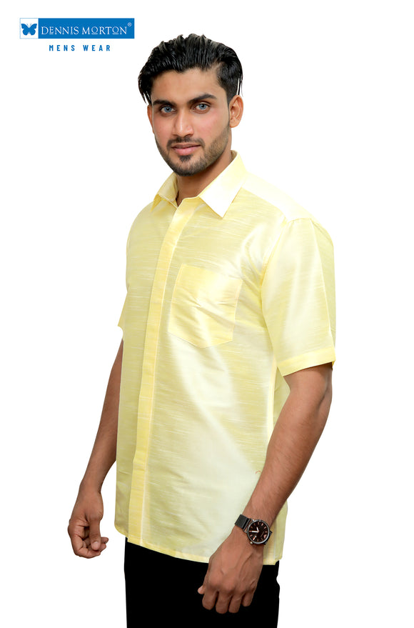Men's Lime Yellow Party Half Sleeve Art Silk Shirt