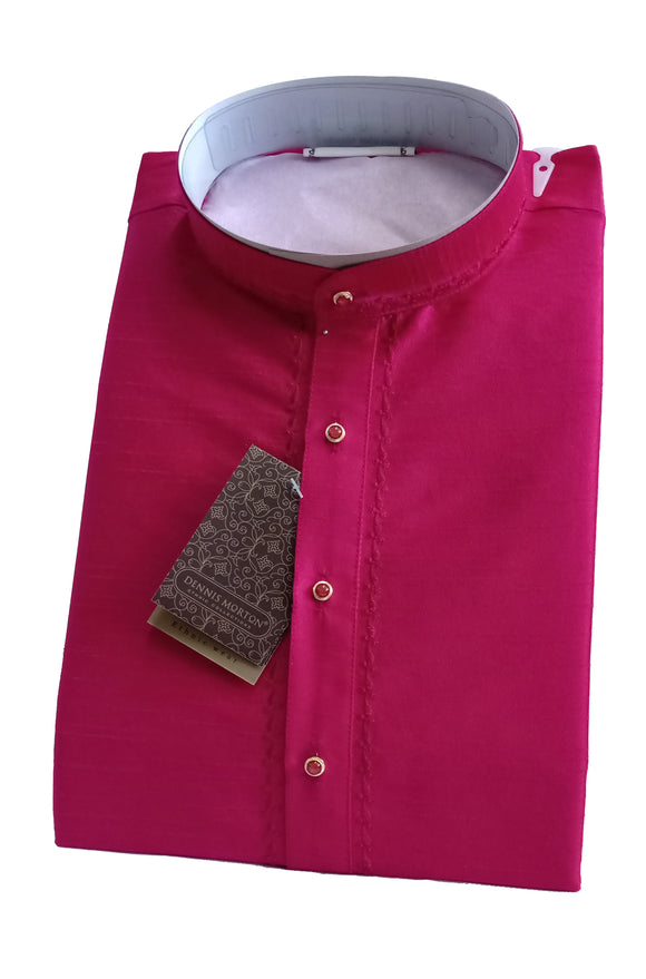 Men's Cerise Color Art Silk Kurta - Slim Fit  - KAKB 285A
