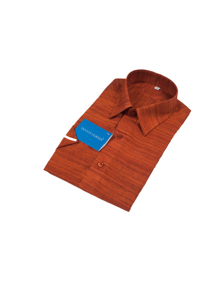 Men's Brick Red Shade Khadi Shirt   -  KPP 02 M