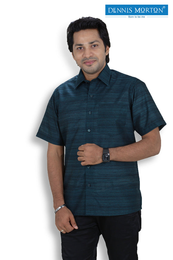 Men's Peacock Green Shade Khadi Shirt   -  KPP 02 N