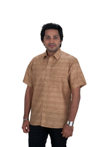 Men's Brown Shade Khadi Shirt   -  KPP 02 T
