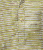 Men's Olive Green & brown Party Polyster stripes Kurta