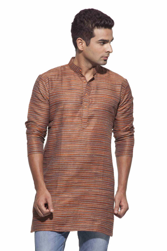 Men's Orange & Grey Party Polyster stripes Kurta