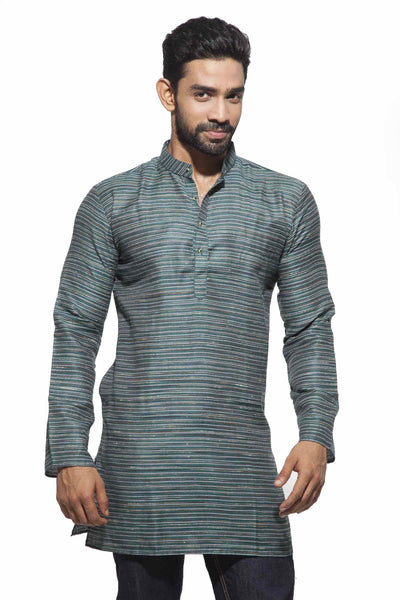 Men's Bottle Green & Grey Party Polyster stripes Kurta