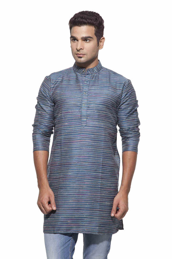 Men's Peacock Blue & Silver Party Polyster stripes Kurta