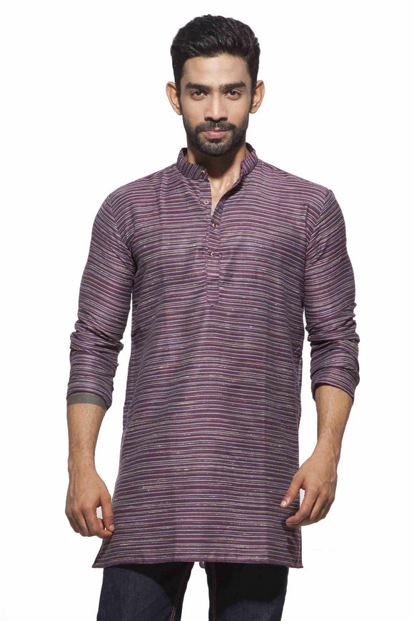 Men's Maroon & grey Party Polyster stripes Kurta