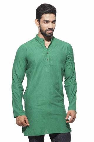 Men's Green Stripes Casual Handloom Cotton Stripes Kurta