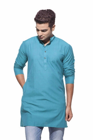 Men's Peacock Blue Stripes Casual Handloom Cotton Kurta