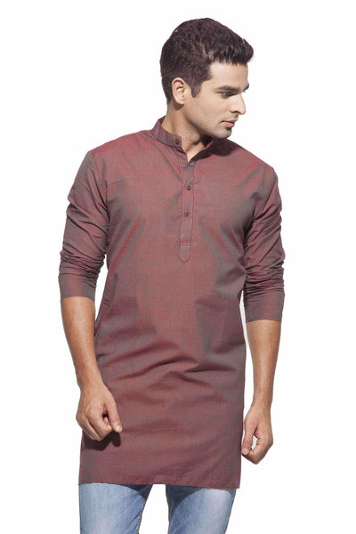 Men's Maroon Strpes Casual Handloom Cotton Kurta