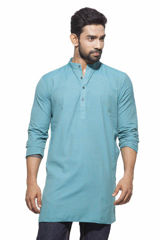 Men's Blue & Golden Stripes Casual Handloom Cotton Kurta
