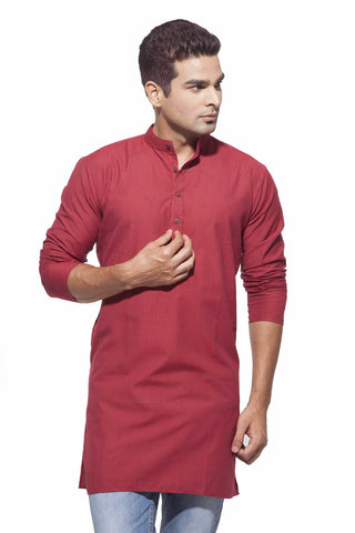 Men's Red & black stripes Casual Handloom Cotton Kurta