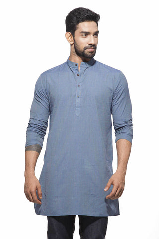 Men's Green & yellow stripes Casual Handloom Cotton Kurta