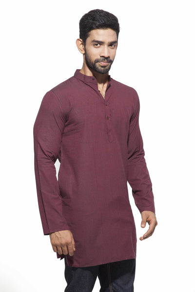 Men's Marroon & Black stripes Casual Handloom Cotton Kurta
