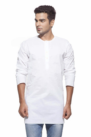Men's White Casual Starch Round Neck Cotton Kurta