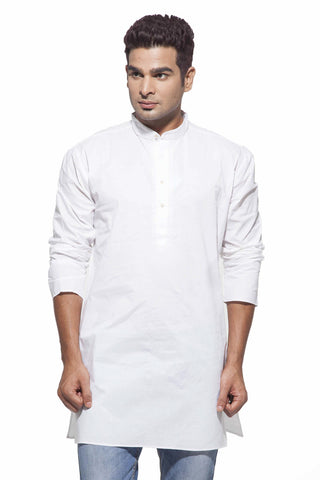 Men's White Casual Starch Cotton Kurta