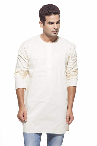 Men's Cream Casual Starch Round Neck Cotton Kurta