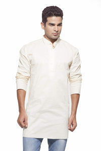 Men's Cream Casual Starch Cotton Kurta