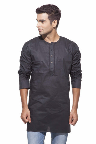 Men's Black Casual Starch Round Neck Cotton Kurta
