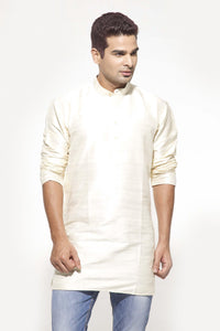 Men's Cream Party Plain Dupioni Silk Kurta