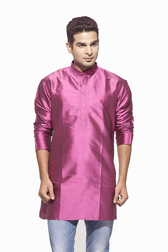 Men's Light Pink Party Plain Dupioni Silk Kurta