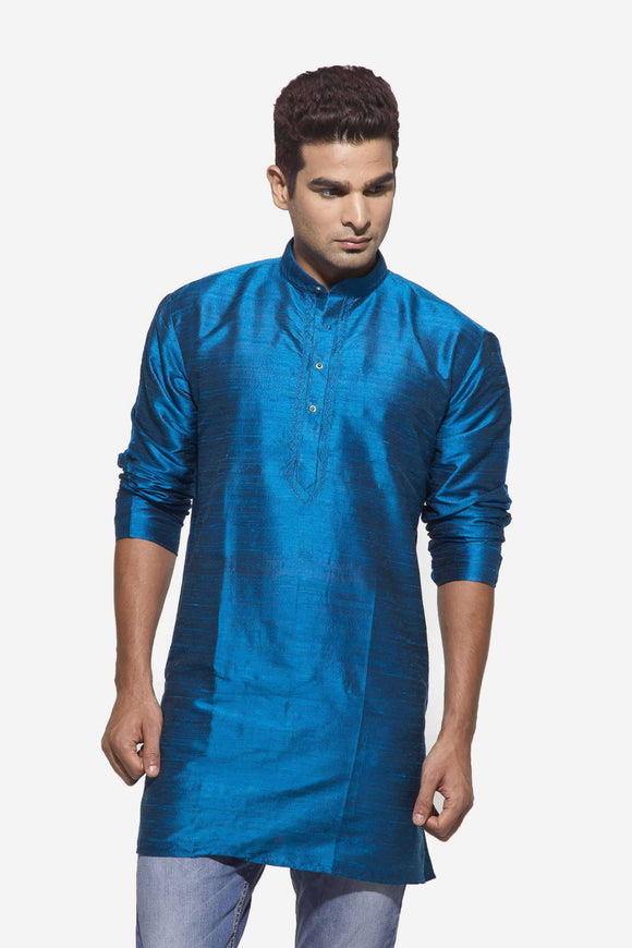 Men's Peacock Blue Party Plain Dupioni Silk Kurta