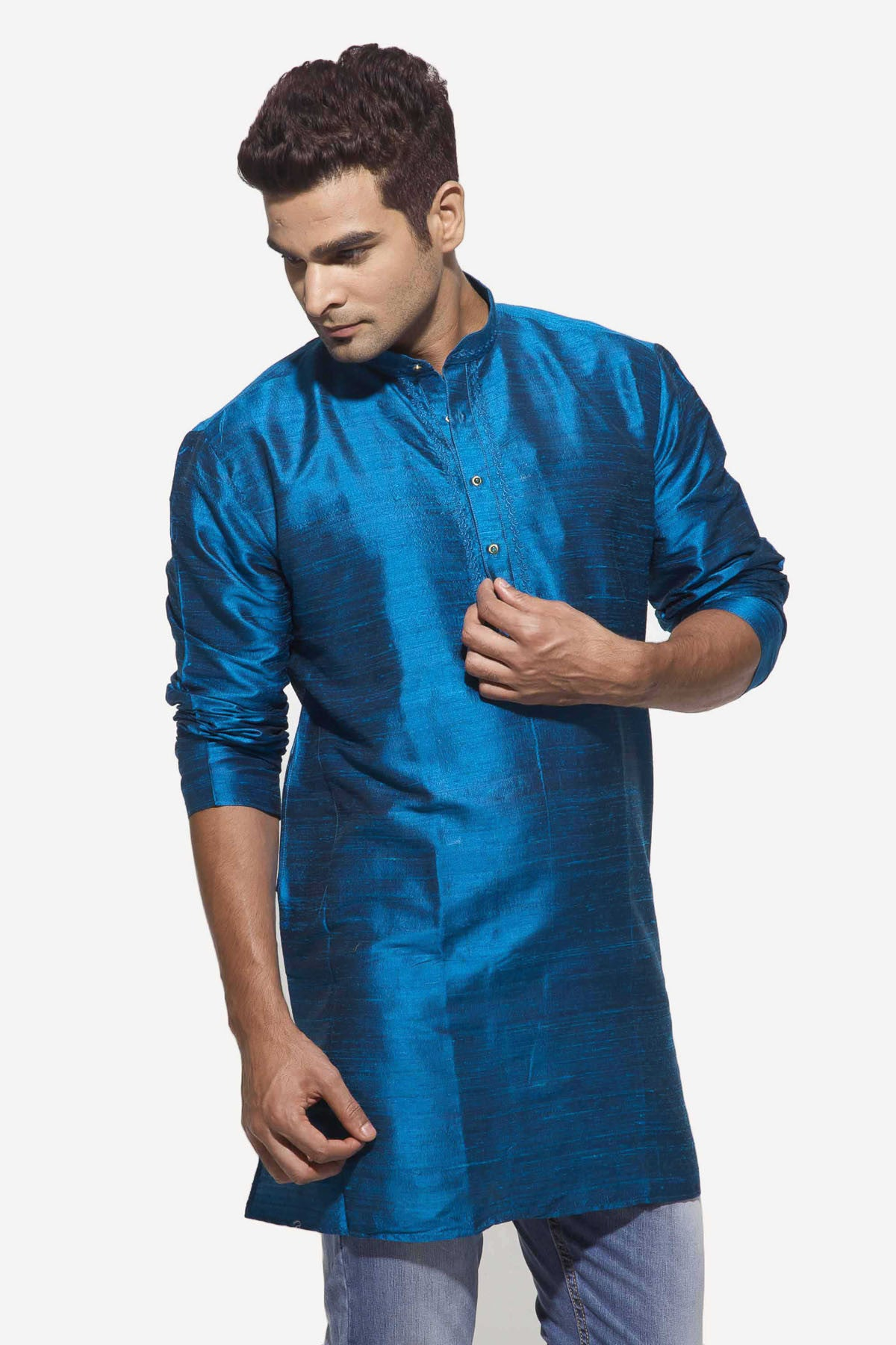 ce905197fcefa6 Men's Peacock Blue Party Plain Dupioni Silk Kurta – Dennis Morton ...