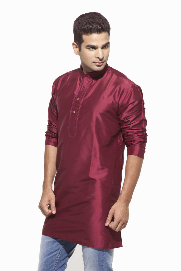 Men's Magenta Party Plain Dupioni Silk Kurta