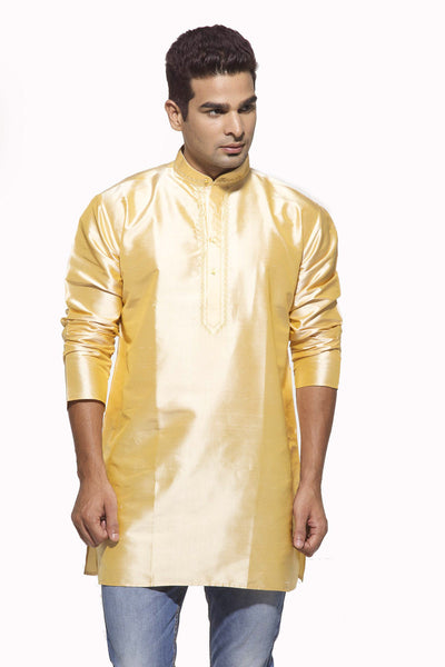 Men's Golden Party Plain Dupioni Silk Kurta