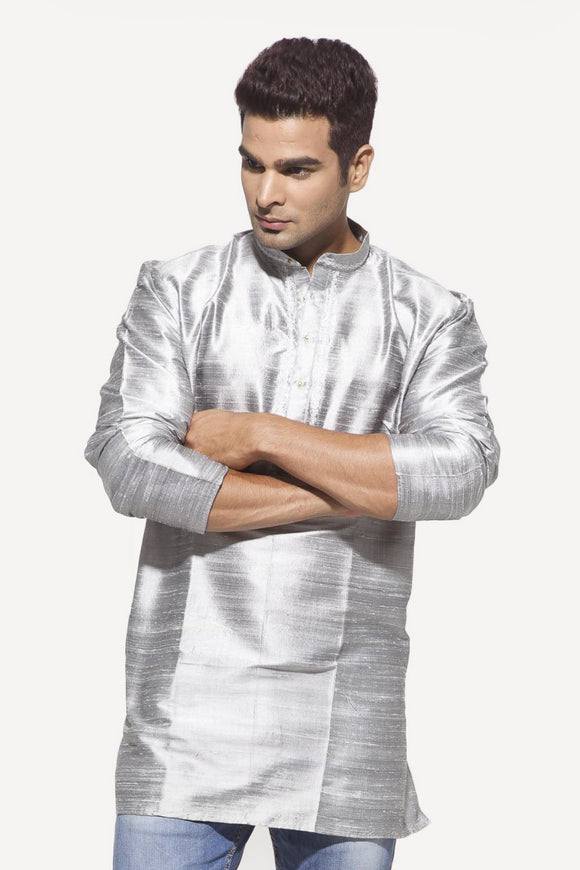 Men's Silver Party Dupioni Silk Kurta