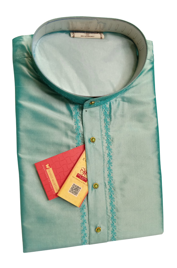 Men's Light Blue Color Party Plain Dupioni Silk Kurta LKS 01 820