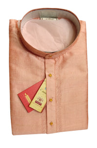 Men's Light Coral Party Dupioni Silk Kurta LKS 02 1009