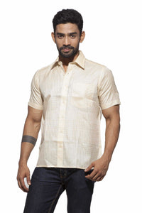Men's Cream checks Party Full Sleeve Matka Silk
